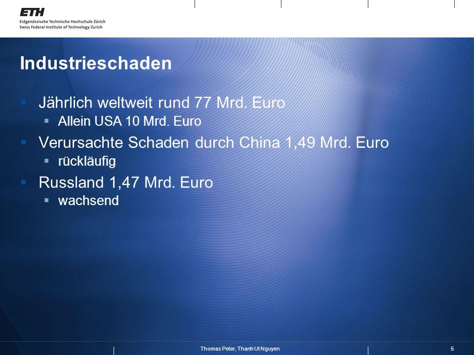 5Thomas Peter, Thanh Ut Nguyen Industrieschaden Jährlich weltweit rund 77 Mrd. Euro Allein USA 10 Mrd. Euro Verursachte Schaden durch China 1,49 Mrd.