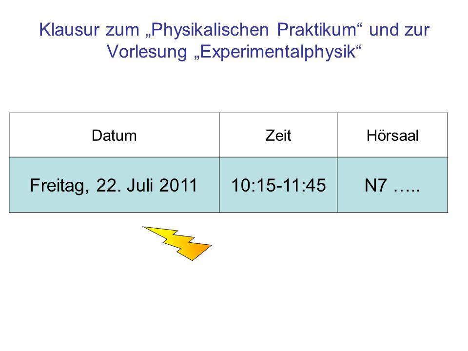 Klausur zum Physikalischen Praktikum und zur Vorlesung Experimentalphysik DatumZeitHörsaal Freitag, 22. Juli 201110:15-11:45N7 …..