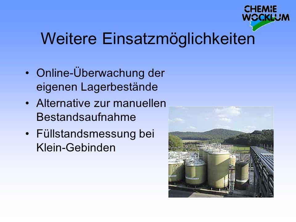 Weitere Einsatzmöglichkeiten Online-Überwachung der eigenen Lagerbestände Alternative zur manuellen Bestandsaufnahme Füllstandsmessung bei Klein-Gebin