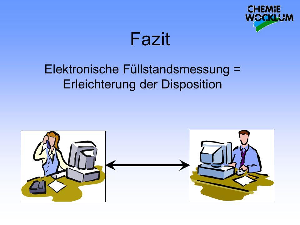 Fazit Elektronische Füllstandsmessung = Erleichterung der Disposition