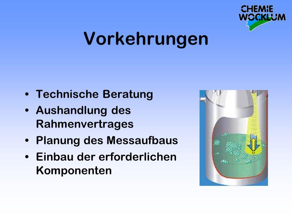 Vorkehrungen Technische Beratung Aushandlung des Rahmenvertrages Planung des Messaufbaus Einbau der erforderlichen Komponenten