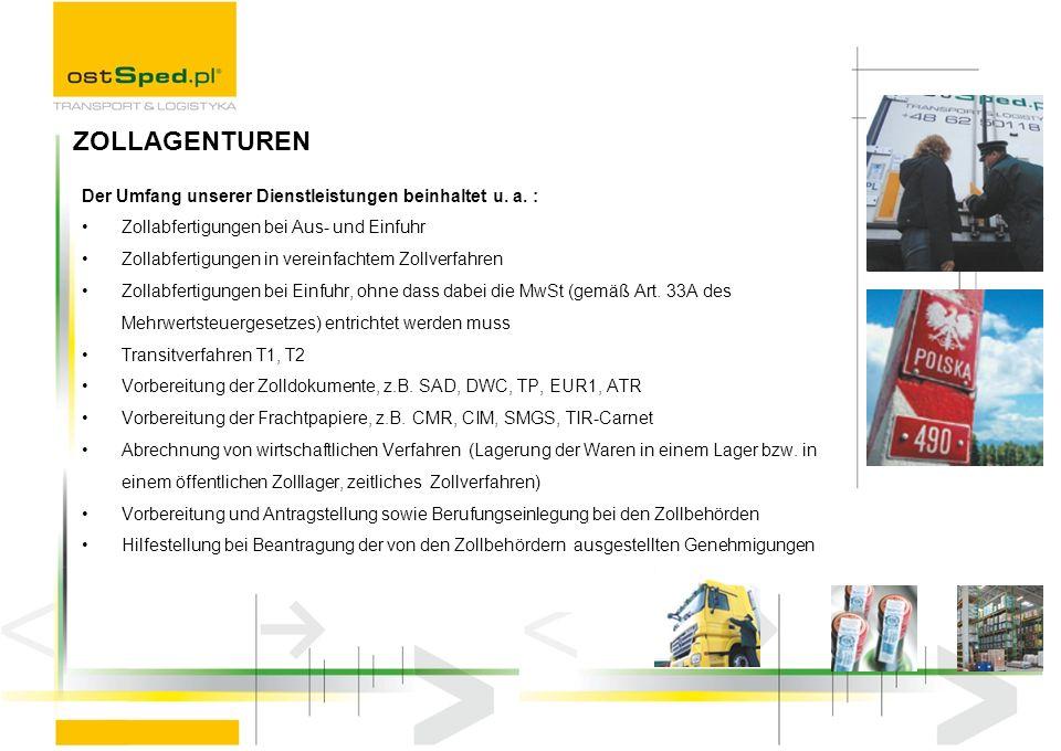 Der Umfang unserer Dienstleistungen beinhaltet u. a. : Zollabfertigungen bei Aus- und Einfuhr Zollabfertigungen in vereinfachtem Zollverfahren Zollabf
