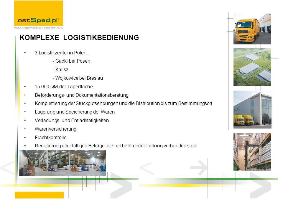 Wir gewährleisten: integrierter Prozess in ganzer Lieferungskette, von der Bestellung durch Lagern bis zur Warenlieferung an entsprechende Stelle in entsprechender Zeit, Berücksichtigung im Distributionsverfahren der Produktart d.h.