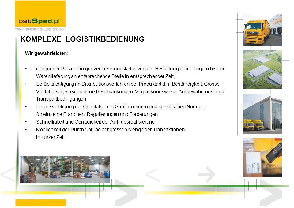 Wir gewährleisten: integrierter Prozess in ganzer Lieferungskette, von der Bestellung durch Lagern bis zur Warenlieferung an entsprechende Stelle in e