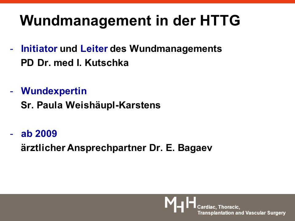 Cardiac, Thoracic, Transplantation and Vascular Surgery -Initiator und Leiter des Wundmanagements PD Dr. med I. Kutschka -Wundexpertin Sr. Paula Weish