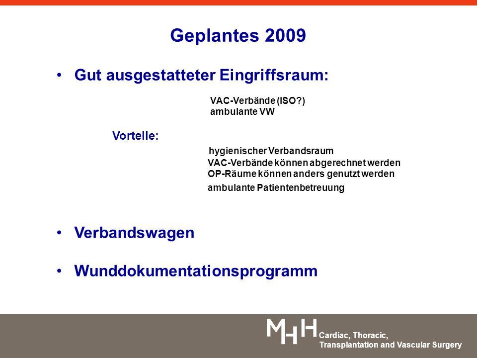 Cardiac, Thoracic, Transplantation and Vascular Surgery Geplantes 2009 Gut ausgestatteter Eingriffsraum: VAC-Verbände (ISO?) ambulante VW Vorteile: hy