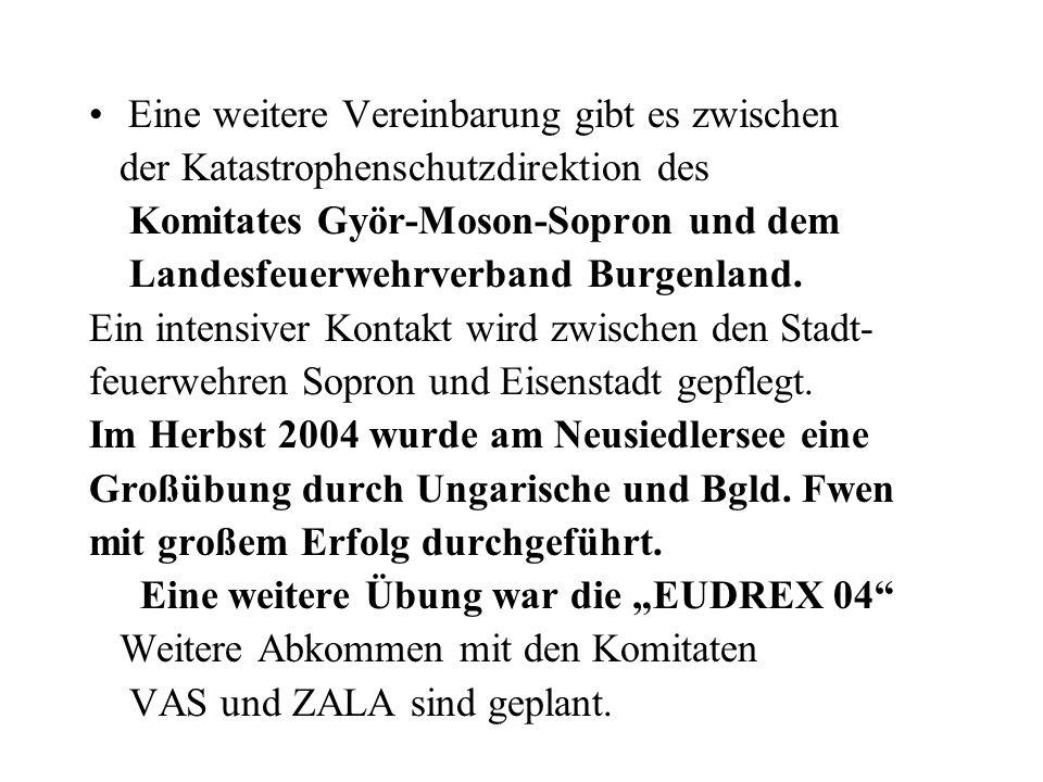 Eine weitere Vereinbarung gibt es zwischen der Katastrophenschutzdirektion des Komitates Györ-Moson-Sopron und dem Landesfeuerwehrverband Burgenland.