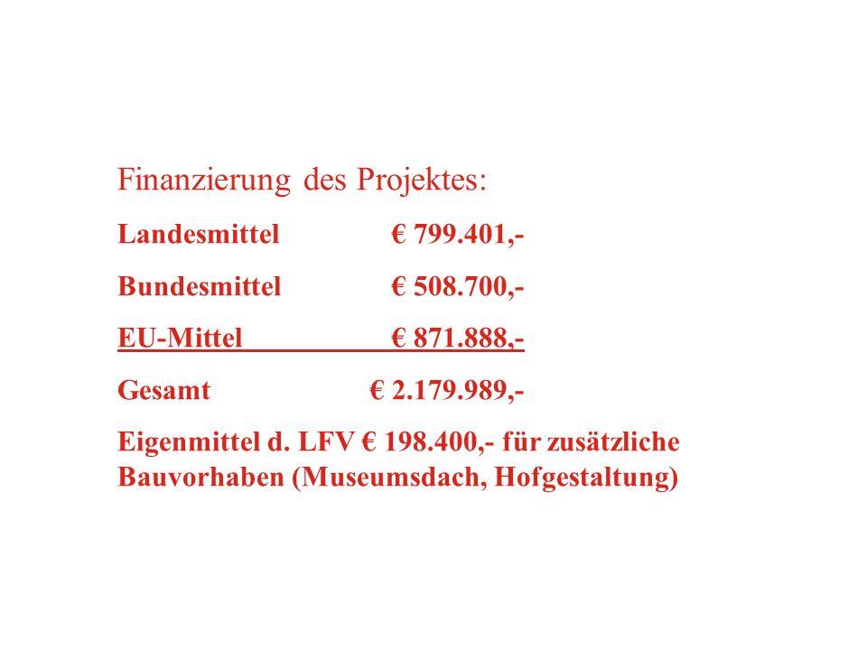 Finanzierung des Projektes: Landesmittel 799.401,- Bundesmittel 508.700,- EU-Mittel 871.888,- Gesamt 2.179.989,- Eigenmittel d. LFV 198.400,- für zusä