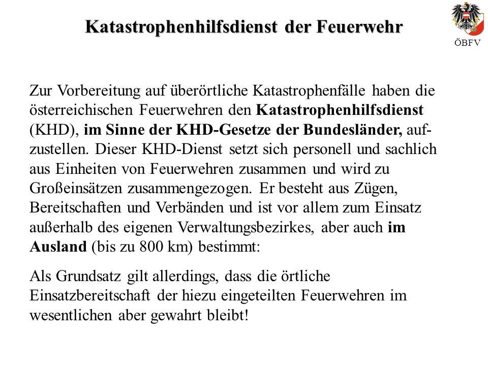 Katastrophenhilfsdienst der Feuerwehr ÖBFV Zur Vorbereitung auf überörtliche Katastrophenfälle haben die österreichischen Feuerwehren den Katastrophen