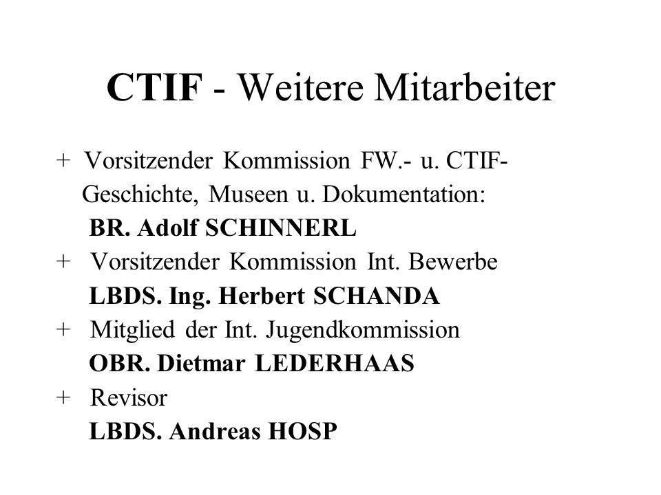 CTIF - Weitere Mitarbeiter + Vorsitzender Kommission FW.- u. CTIF- Geschichte, Museen u. Dokumentation: BR. Adolf SCHINNERL + Vorsitzender Kommission