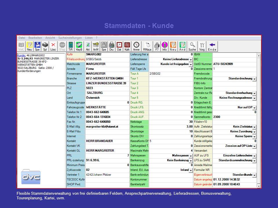 Stammdaten - Kunde Flexible Stammdatenverwaltung von frei definierbaren Feldern, Ansprechpartnerverwaltung, Lieferadressen, Bonusverwaltung, Tourenpla