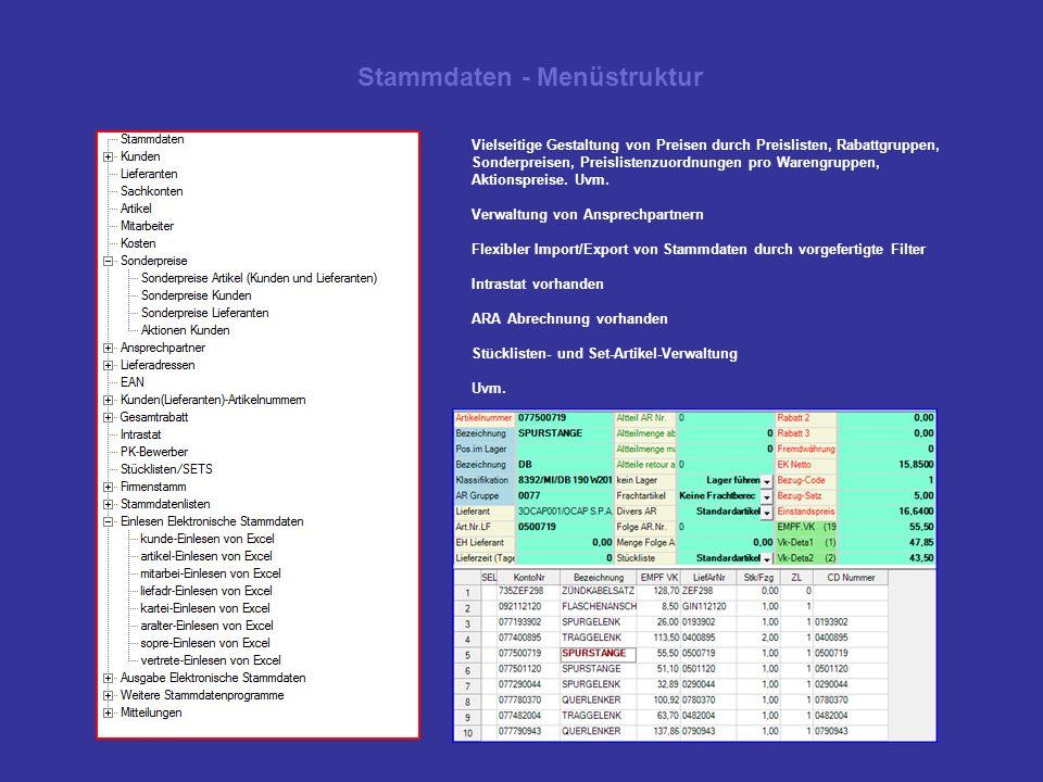 Stammdaten - Menüstruktur Vielseitige Gestaltung von Preisen durch Preislisten, Rabattgruppen, Sonderpreisen, Preislistenzuordnungen pro Warengruppen,
