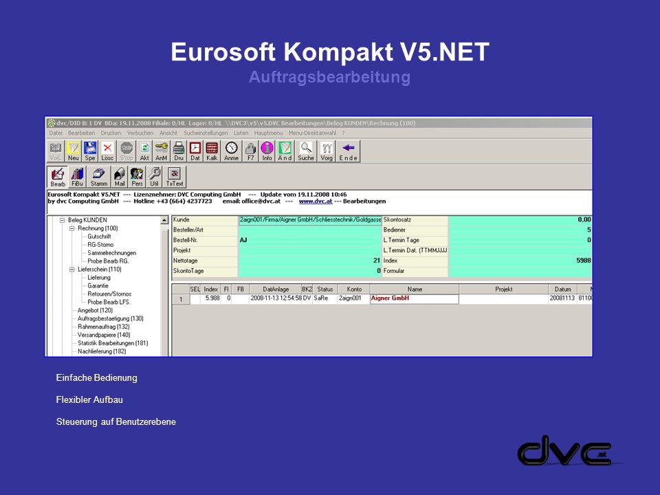 Eurosoft Kompakt V5.NET Auftragsbearbeitung Einfache Bedienung Flexibler Aufbau Steuerung auf Benutzerebene