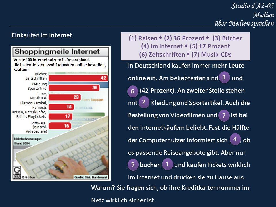 Studio d A2-05 Medien _____________________________________________________über Medien sprechen Einkaufen im Internet