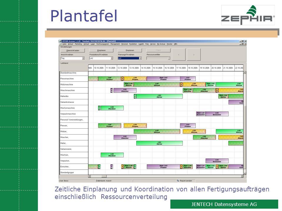10 JENTECH Datensysteme AG Plantafel Zeitliche Einplanung und Koordination von allen Fertigungsaufträgen einschließlich Ressourcenverteilung