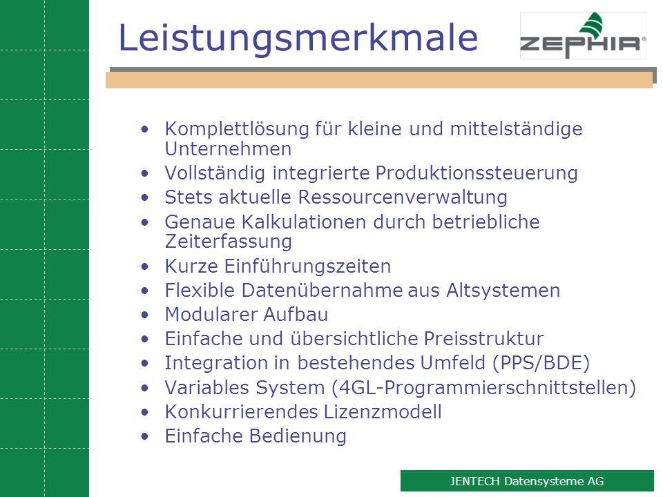 11 JENTECH Datensysteme AG Leistungsmerkmale Komplettlösung für kleine und mittelständige Unternehmen Vollständig integrierte Produktionssteuerung Ste
