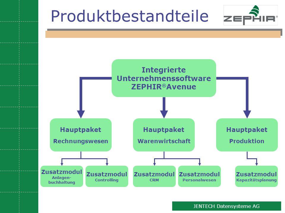 2 JENTECH Datensysteme AG Produktbestandteile Integrierte Unternehmenssoftware ZEPHIR ® Avenue Hauptpaket Warenwirtschaft Hauptpaket Rechnungswesen Ha