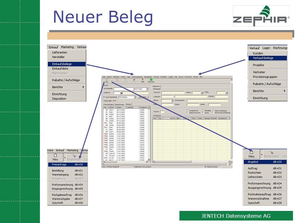 5 JENTECH Datensysteme AG Neuer Beleg