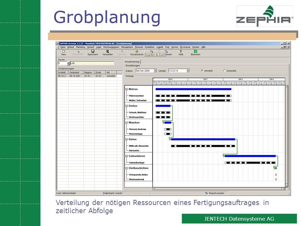 9 JENTECH Datensysteme AG Grobplanung Verteilung der nötigen Ressourcen eines Fertigungsauftrages in zeitlicher Abfolge