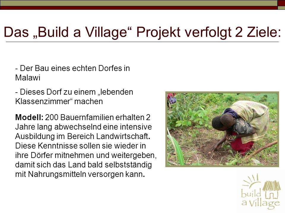 - Der Bau eines echten Dorfes in Malawi - Dieses Dorf zu einem lebenden Klassenzimmer machen Modell: 200 Bauernfamilien erhalten 2 Jahre lang abwechselnd eine intensive Ausbildung im Bereich Landwirtschaft.