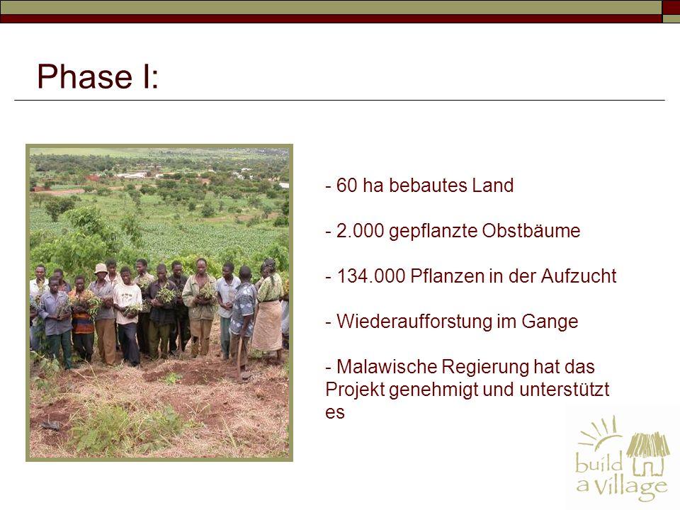 - 60 ha bebautes Land - 2.000 gepflanzte Obstbäume - 134.000 Pflanzen in der Aufzucht - Wiederaufforstung im Gange - Malawische Regierung hat das Projekt genehmigt und unterstützt es Phase I: