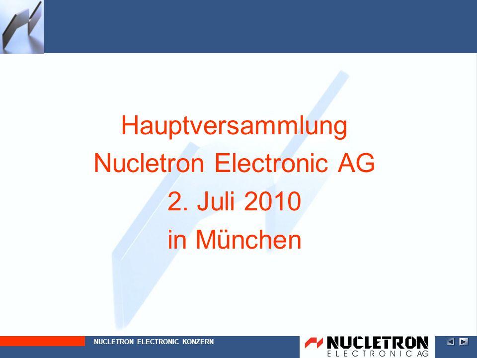 Hauptversammlung Nucletron Electronic AG 2. Juli 2010 in München NUCLETRON ELECTRONIC KONZERN