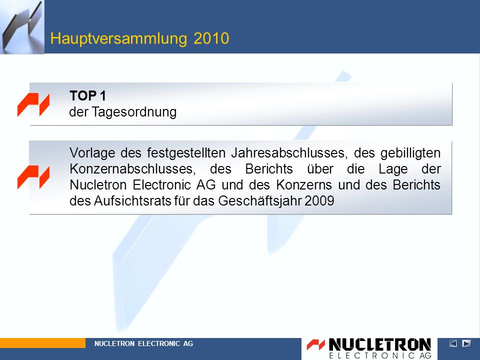Hauptversammlung 2010 Beschlussfassung über die Entlastung des Vorstands für das Geschäftsjahr 2009 NUCLETRON ELECTRONIC AG TOP 3 der Tagesordnung