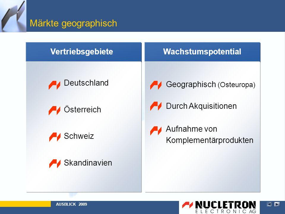 Märkte geographisch Wachstumspotential Geographisch (Osteuropa) Durch Akquisitionen Aufnahme von Komplementärprodukten AUSBLICK 2009 Vertriebsgebiete