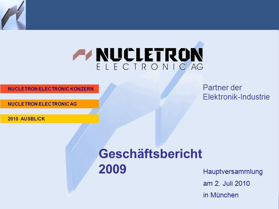 Homepage Hauptversammlung am 2. Juli 2010 in München Geschäftsbericht 2009 Partner der Elektronik-Industrie NUCLETRON ELECTRONIC KONZERN 2010 AUSBLICK