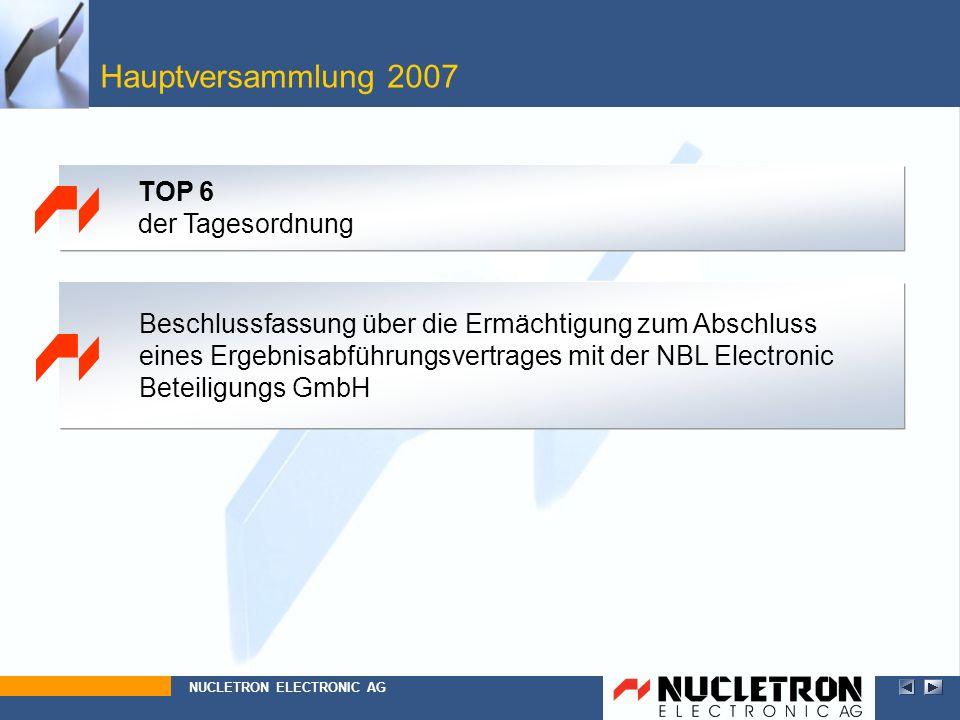Hauptversammlung 2007 NUCLETRON ELECTRONIC AG TOP 6 der Tagesordnung Beschlussfassung über die Ermächtigung zum Abschluss eines Ergebnisabführungsvert