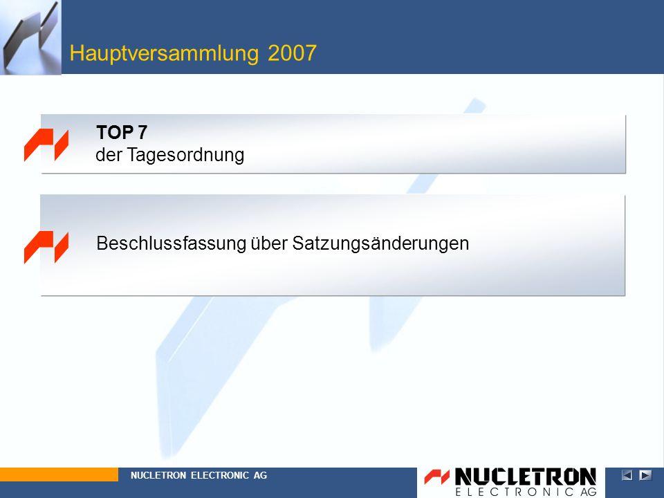 Hauptversammlung 2007 Beschlussfassung über Satzungsänderungen NUCLETRON ELECTRONIC AG TOP 7 der Tagesordnung