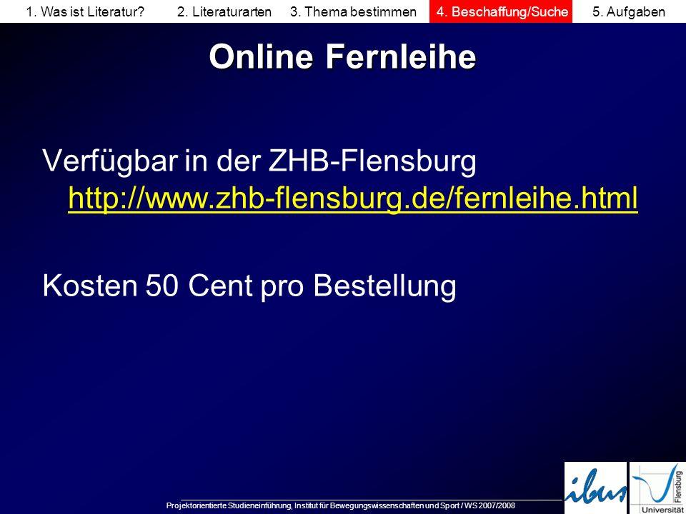 Projektorientierte Studieneinführung, Institut für Bewegungswissenschaften und Sport / WS 2007/2008 Online Fernleihe Verfügbar in der ZHB-Flensburg ht