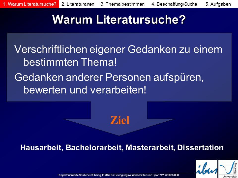 Projektorientierte Studieneinführung, Institut für Bewegungswissenschaften und Sport / WS 2007/2008 Warum Literatursuche? Verschriftlichen eigener Ged