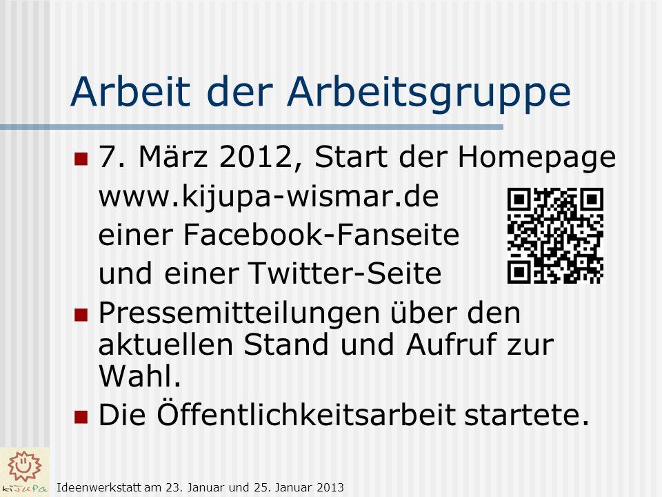 Arbeit der Arbeitsgruppe 7. März 2012, Start der Homepage www.kijupa-wismar.de einer Facebook-Fanseite und einer Twitter-Seite Pressemitteilungen über