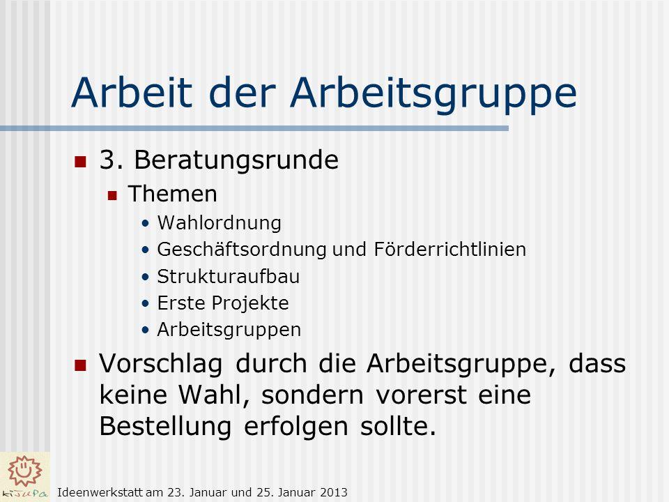 Arbeit der Arbeitsgruppe 3. Beratungsrunde Themen Wahlordnung Geschäftsordnung und Förderrichtlinien Strukturaufbau Erste Projekte Arbeitsgruppen Vors