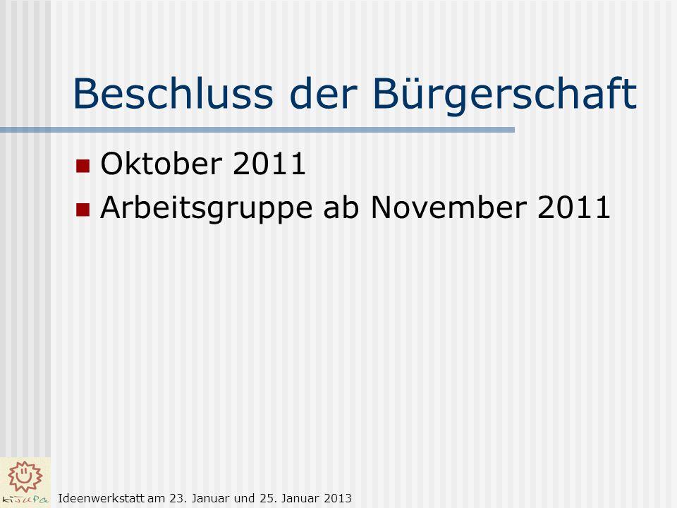 Beschluss der Bürgerschaft Oktober 2011 Arbeitsgruppe ab November 2011 Ideenwerkstatt am 23. Januar und 25. Januar 2013