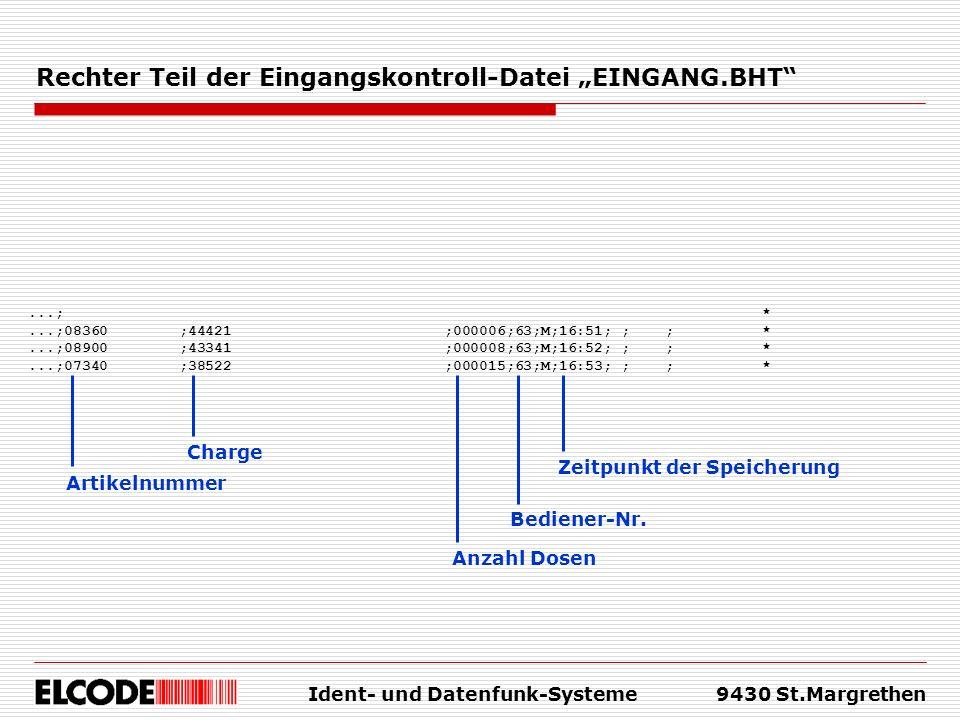 Ident- und Datenfunk-Systeme9430 St.Margrethen Rechter Teil der Eingangskontroll-Datei EINGANG.BHT...; *...;08360 ;44421 ;000006;63;M;16:51; ; ; *...;