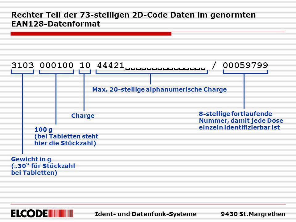 Ident- und Datenfunk-Systeme9430 St.Margrethen Rechter Teil der 73-stelligen 2D-Code Daten im genormten EAN128-Datenformat Gewicht in g (30 für Stückz