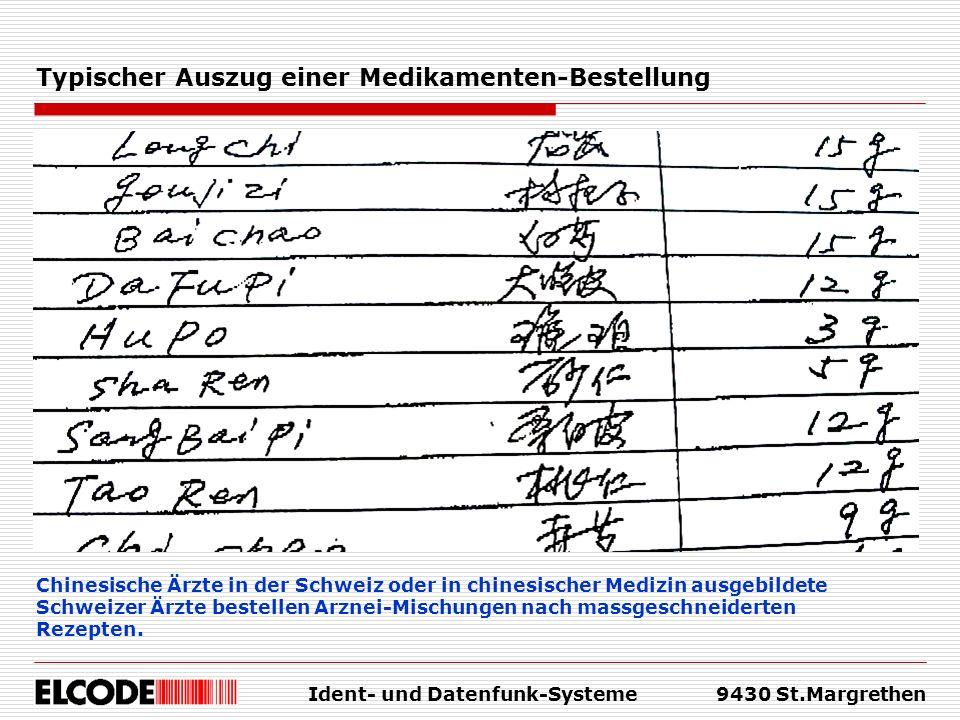 Ident- und Datenfunk-Systeme9430 St.Margrethen Typischer Auszug einer Medikamenten-Bestellung Chinesische Ärzte in der Schweiz oder in chinesischer Me