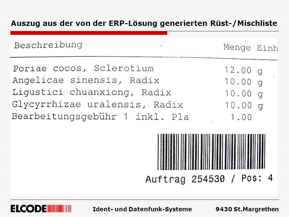 Ident- und Datenfunk-Systeme9430 St.Margrethen Auszug aus der von der ERP-Lösung generierten Rüst-/Mischliste