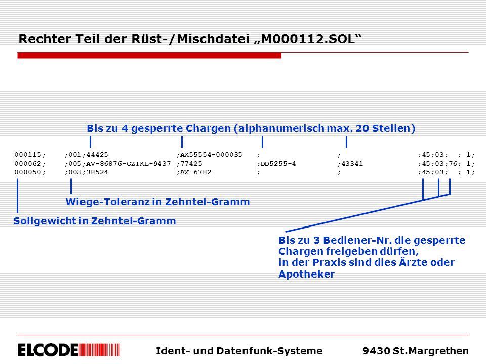 Ident- und Datenfunk-Systeme9430 St.Margrethen Rechter Teil der Rüst-/Mischdatei M000112.SOL Bis zu 4 gesperrte Chargen (alphanumerisch max. 20 Stelle