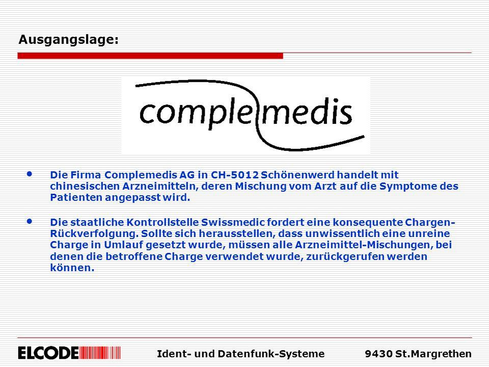 Ident- und Datenfunk-Systeme9430 St.Margrethen Ausgangslage: Die staatliche Kontrollstelle Swissmedic fordert eine konsequente Chargen- Rückverfolgung