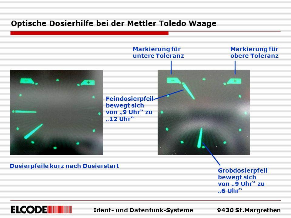 Ident- und Datenfunk-Systeme9430 St.Margrethen Optische Dosierhilfe bei der Mettler Toledo Waage Markierung für obere Toleranz Markierung für untere T