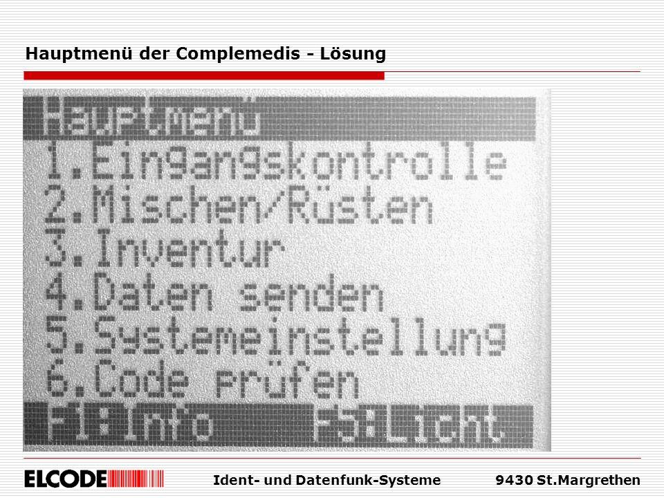 Ident- und Datenfunk-Systeme9430 St.Margrethen Hauptmenü der Complemedis - Lösung