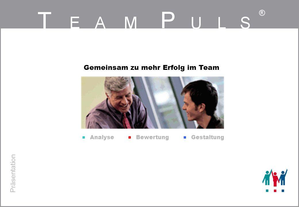 T EAM P ULS ® Fachgruppe TeamPuls / 02.05.02/ TP-Präs.ppt/ Seite 12 Übergreifende Auswertung - Beispiel für 3 Bereiche Auffällige Einzelaussagen * Anzahl der Teams, in denen der Mittelwert 2,5 ist.