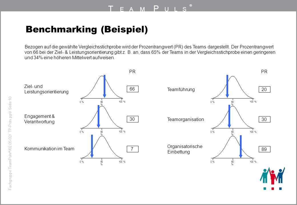 T EAM P ULS ® Fachgruppe TeamPuls / 02.05.02/ TP-Präs.ppt/ Seite 10 Benchmarking (Beispiel) PR 66 Ziel- und Leistungsorientierung 30 Engagement & Vera