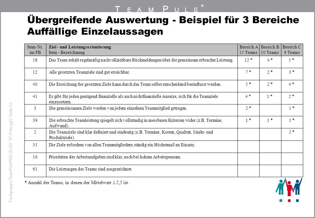 T EAM P ULS ® Fachgruppe TeamPuls / 02.05.02/ TP-Präs.ppt/ Seite 12 Übergreifende Auswertung - Beispiel für 3 Bereiche Auffällige Einzelaussagen * Anz