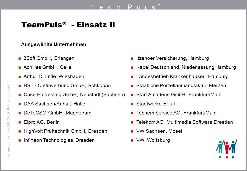 T EAM P ULS ® Fachgruppe TeamPuls / 02.05.02/ TP-Präs.ppt/ Seite 14 TeamPuls - Einsatz II Ausgewählte Unternehmen 3Soft GmbH, Erlangen Achilles GmbH,
