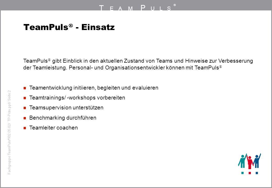 T EAM P ULS ® Fachgruppe TeamPuls / 02.05.02/ TP-Präs.ppt/ Seite 2 TeamPuls - Einsatz TeamPuls gibt Einblick in den aktuellen Zustand von Teams und Hinweise zur Verbesserung der Teamleistung.