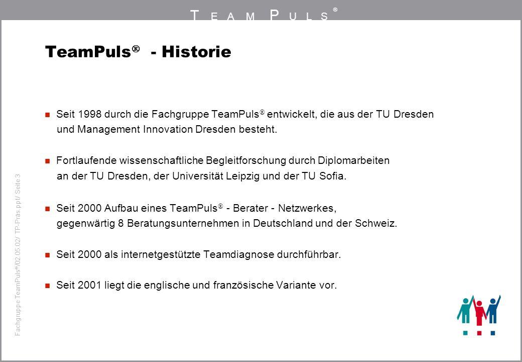 T EAM P ULS ® Fachgruppe TeamPuls / 02.05.02/ TP-Präs.ppt/ Seite 4 Standardisiertes Messverfahren Fragebogen mit 66 Items, die sich auf die Leistungsfähigkeit von Teams beziehen und 6 Dimensionen zugeordnet sind.